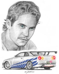 Cool Car Drawings, Realistic Drawings, Colorful Drawings, Paul Walker Tribute, Actor Paul Walker, Bunny Sketches, Art Sketches, Fast And Furious, Car Drawing Pencil