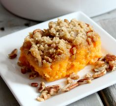 -5-6 lg sweet potatoes -½ cup granulated sugar -¼ cup sweetened condensed milk -3 tablespoons butter, melted -½ teaspoon salt -1 teaspoon vanilla extract -⅔ cup packed brown sugar -package chopped pecans