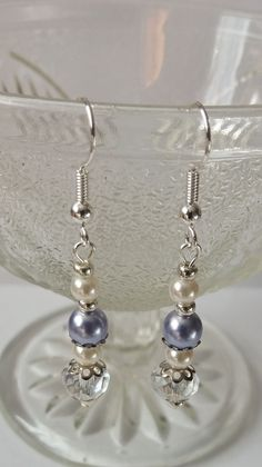 Gift idea. Birthday gift. Jewelry. Pearl and Crystal Earrings    Earrings with glass pearls and silver plated elements