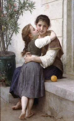 A Little Coaxing, 1890 by William-Adolphe Bouguereau. Realism. portrait. Private Collection