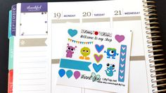 Lil Page, Monster Green, Purple and Blue, ADD ON, Fits ECLP, Plum Planner, Lilly P. and others, Planner Stickers, Kiss Cut, Life Planner by LillyTop on Etsy