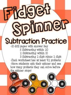 Students can have fun practicing subtraction using these worksheets! Have students place their fidget spinner and challenge them to solve problems on the page before the spinner stops! What's included- -Total of 10 practice pages with answer key 5 pages are subtracting within 20 2 pages are subtracting within 10 3 pages are subtracting 2 digit by 2 digit -Each worksheet has at least 42 problems