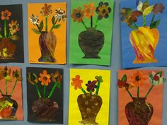 Painted paper collage vases and flowers.  Used combing tools for texture.