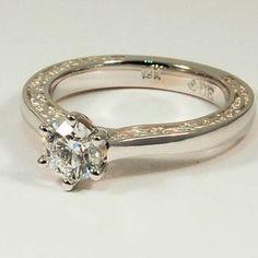 18K White Gold Secret Garden Ring - Set with a 0.60 Carat, Round, Super Ideal Cut, E Color, IF Clarity Diamond #BrilliantEarth