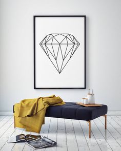 "Diamond Wall Art, Geometric Print, Home Decor, Printable Poster, Scandinavian Print, Geometric Decor, Affiche Scandinave, 50x70 cm, 18x24"""