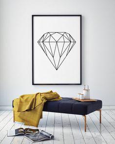 Diamond Wall Art Geometric Print Home Decor Printable by PxlNest