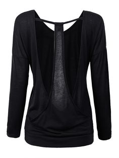 Sale 30% (9.88$) - Sexy Black Backless Hollow Out Long Sleeve T-Shirt