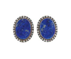 18K Gold Silver Rose Cut Diamond Blue Stone Earrings Featured in our upcoming auction on February 23!