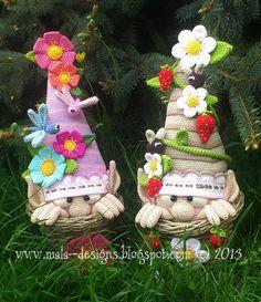 garden gnomes, crochet pattern by mala designs ®