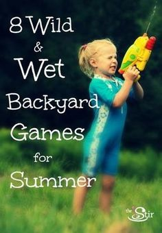 """Dry, Dry, Wet. Think Duck, Duck, Goose, only """"It"""" walks around the circle with a soaking wet sponge in hand. Each time he taps a kid on the shoulder, he says """"dry"""" (instead of duck) until he settles on his target. """"It"""" squeezes that sponge over his target's head and yells """"wet."""" The rest of the game follows the Duck, Duck, Goose rules."""