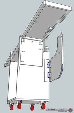 Table Saws Illustrated Isometric View of Rolling Chop Saw Stand Looking Under Wing Diy Miter Saw Stand, Miter Saw Table, Mitre Saw Stand, Mitre Saw Station, Table Saw Station, Table Saw Stand, Diy Table Saw, Woodworking Projects Diy, Woodworking Plans