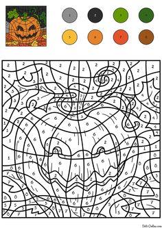ausmalbild malen nach zahlen: halloween: kürbisse ausmalen kostenlos ausdrucken   for colouring