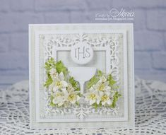 First communion card by Monia - Cards and Paper Crafts at Splitcoaststampers Cute Cards, Diy Cards, Handmade Cards, First Communion Cards, Confirmation Cards, Christian Cards, Explosion Box, Christening, Invitation Cards