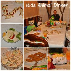 "Kids Animal Themed Dinner--pinner wrote ""Our children came up the the idea, decorations, and helped make all the food. Kids Meals, Family Meals, Easy Meals, Best Party Food, Dinner Themes, Theme Days, Cooking With Kids, Kid Friendly Meals, Animals For Kids"