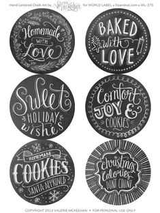 Adorable Hand-lettered chalkboard Baking Printables.
