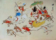 Kawanabe Kyōsai.( 河鍋暁斎). 「鼠と猫の行進」(老鼠與貓的行進)