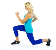 1. 20 Lunges Per Leg: This lower body workout targets your glutes, hamstrings and quads. Make sure to keep your back straight.