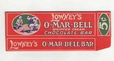 Lowney's O-Mar-Bell Bar box, flattened to show side detail. Killer illustration - boys in tall socks playing marbles.... awesome.