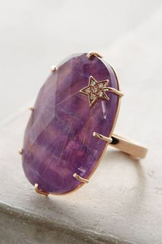 Andrea Fohrman Amethyst Annular Ring - LA-based Andrea Fohrman designs feminine, hand-casted fine jewelry with the skilled help of local artisans and craftsmen. Using recycled materials and unique stones collected from all corners of the earth, each wearable work of art is distinctive, sophisticated and altogether unforgettable.: AMETHYST GEMSTONES AND JEWELRY
