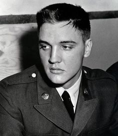 """Private Elvis Presley at Fort Hood, TX, Wednesday, May 28, 1958   This photo was also on the cover of the book """"Private Presley: The Missing Years--Elvis in Germany"""" by Andreas Schröer. Take a look inside the book: http://www.amazon.de/Private-Presley-Missing-Years-Elvis-Germany/dp/0060099429"""