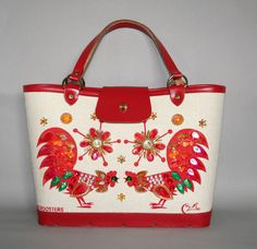 Red Roosters vintage 60s Enid Collins Purse