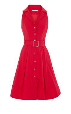 *Stretch cotton colour block shirt dress with belt and  Karen Millen branded metalwork.  *15% Polyamide,4% Elastane,81% Cotton