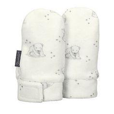 """Preciosas, dulces y calentitas manoplas para recién nacido en color blanco y dibujo de osos polares en tono gris de la famosa marca Alemana """"Sterntaler"""". Combinalas con el gorrito a juego. Requena. Valencia. Invierno"""