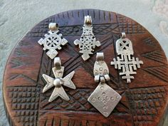 A collections of small antique silver Ethiopian coptic neckcrosses.