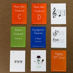 New Student Flashcards (updated in 2013!) Includes notes, key signatures, patterns and the 3 adorable snowmen images for introducing chords