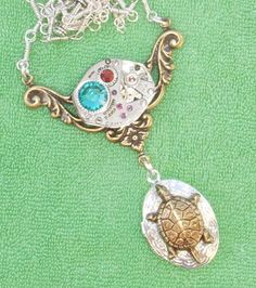 VTG Steampunk 17 RUBY Dangling Turtle locket Necklace by Connor Kitsune Designs $9.99 http://cgi.ebay.com/ws/eBayISAPI.dll?ViewItem=130744984268=STRK:MESE:IT#ht_916wt_915