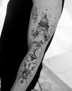 Awesome Tattoos, Cool Tattoos, Moutain Tattoos, Sword Tattoo, Aesthetic Tattoo, Bob Dylan, Tattos, Sleeve Tattoos, Tattoo Designs