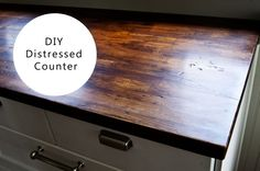 Distressed Wood Counter top, Ikea butcher block