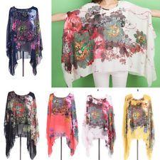 Womens Lady Floral Print Loose Batwing Sleeve Tops T-Shirt Boho Chiffon Blouse