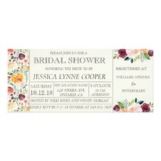 Chic Garden Party Floral Bridal Shower Invitation - invitations custom unique diy personalize occasions