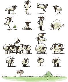 Characters from Home Sheep Home Shaun The Sheep, Sheep And Lamb, Sheep Drawing, Sheep Crafts, Sheep Art, Arte Sketchbook, Cute Illustration, Nursery Art, Rock Art