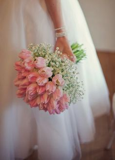 nice Pink tulips and baby's breath