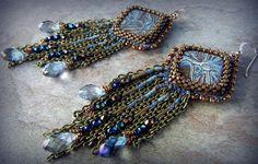 collares aretes y pulseras pedrería fina | Ceramic Cabochon Earrings Bead Embroidered by BeadedTreasuresbyJCo, $ ...