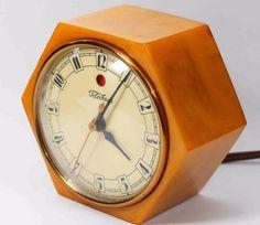 1940 Vintage Butterscotch Bakelite Catalin Art Deco Clock Excellent Condition   eBay