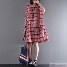 Original strips linen dresses short sleeve red casual dress oversize sundresses