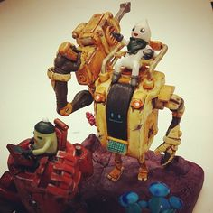 Gem miners!  4 #sculpey #sculpture #polymer #robot #mecha #metal #rust #scifi #engine #drill #technology #creation #craft #comic #monster #miner #clay