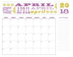 April Month 2018 Calendar