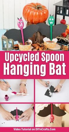 This adorable upcycled spoon bat is a perfect hanging Halloween decoration that kids can make and decorate their rooms for Halloween! This kids Halloween craft is a great way to upcycle spoons and make cute Halloween bats. #Halloween #Bats #Upcycled #KidsCraft #HalloweenDecor
