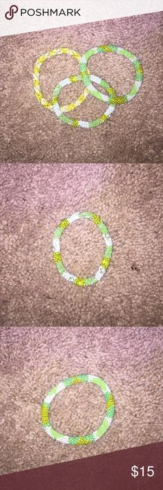 Beaded Braclets Beaded bracelets only been worn once!! Selling bc i didn't like color. Selling all 3 together!! NOT INDIVIDUALLY Jewelry Bracelets
