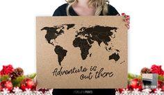 Cork Push Pin Travel Map  16x20  Adventure is by RasurePrintsLLC