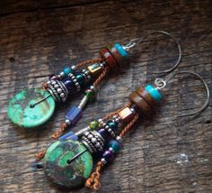 Turquoise and beaded Glass Earrings