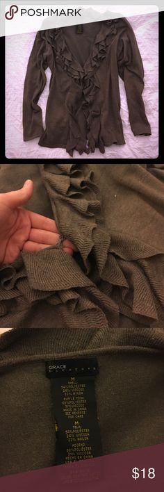 Selling this Brown Ruffle Cardigan, Grace Elements on Poshmark! My username is: haidencary. #shopmycloset #poshmark #fashion #shopping #style #forsale #Grace Elements #Sweaters