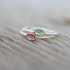 Tiny Tourmaline Rose Gold Silver Ring Pink by NangijalaJewelry