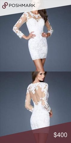 La Femme lace cocktail! Beautiful size 6 white lace cocktail! Only worn once!!! More pictures coming!!! More pictures coming! La Femme Dresses Mini
