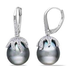 I've tagged a product on Zales: 12.0 - 12.5mm Cultured Tahitian Pearl and White Topaz Earrings in Sterling Silver
