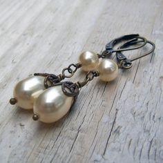 Pearl Brass Earrings  Light Gold Swarovski Pearl by BeadinByTheSea